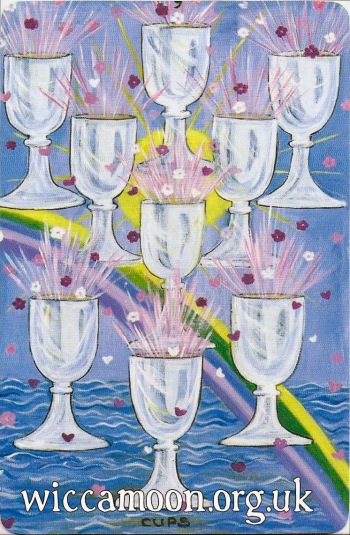 Nine of Cups. Wicca Moon Tarot