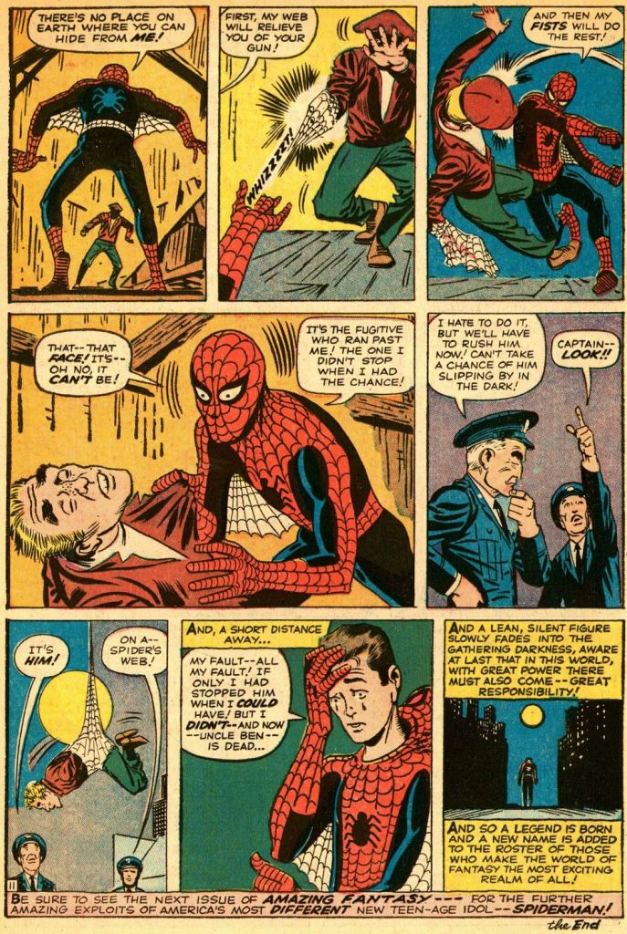From Amazing Fantasy #15, featuring the origin and first appearance of Spiderman. Story by Stan Lee; art by Steve Ditko.