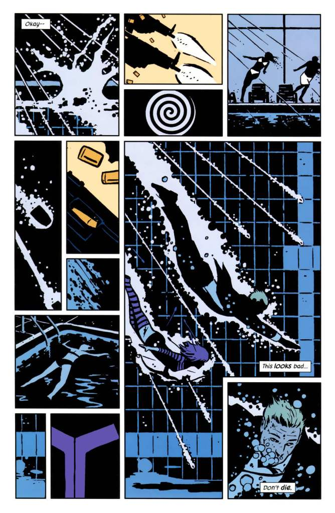 Page from Hawkeye #2. Art by David Aja; Written by Matt Fraction, with art by David Aja. Published by Marvel Comics